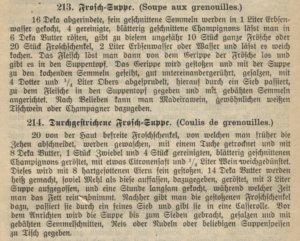 Wiener Kochbuch, Froschsuppe