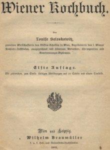 Wiener Kochbuch, Titelseite